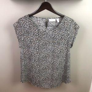 Chico's Cheetah Animal Print Blouse Size 1 Medium